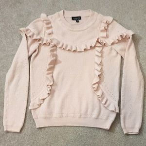 Topshop Pink Champagne Ruffled Sweater